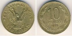10 Peso Chile Brass