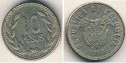 10 Peso Republic of Colombia (1886 - ) Copper/Nickel