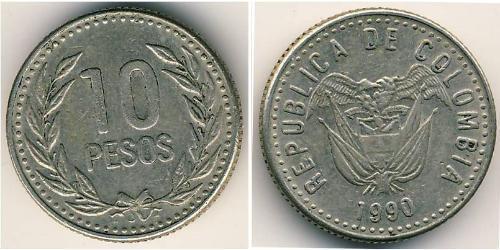 10 Peso Republic of Colombia (1886 - ) Copper/Nickel