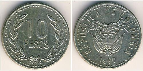 10 Peso Republic of Colombia (1886 - ) Copper/Zinc/Nickel