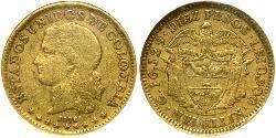 10 Peso Vereinigte Staaten von Kolumbien (1863 - 1886) Gold