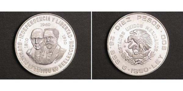 10 Peso México (1867 - ) Plata Miguel Hidalgo