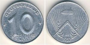 10 Pfennig 東德 (1949 - 1990) 铝