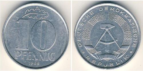 10 Pfennig Repubblica Democratica Tedesca (1949-1990) Alluminio