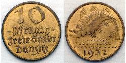 10 Pfennig Gdansk (1454-1793) Aluminio/Bronce