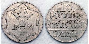 10 Pfennig Gdansk (1920-1939) Níquel/Cobre