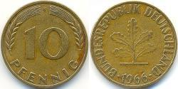 10 Pfennig West Germany (1949-1990) Steel/Brass