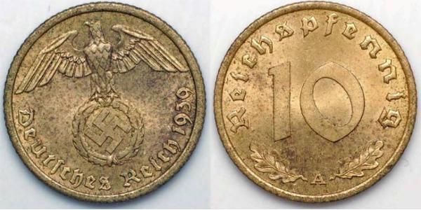 10 Pfennig Alemania nazi (1933-1945)