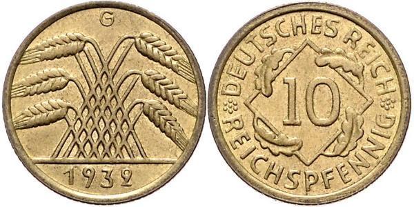 10 Pfennig / 10 Reichpfennig 魏瑪共和國 (1919 - 1933) 黃銅