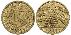 10 Pfennig / 10 Reichpfennig Weimar Republic (1918-1933) Brass