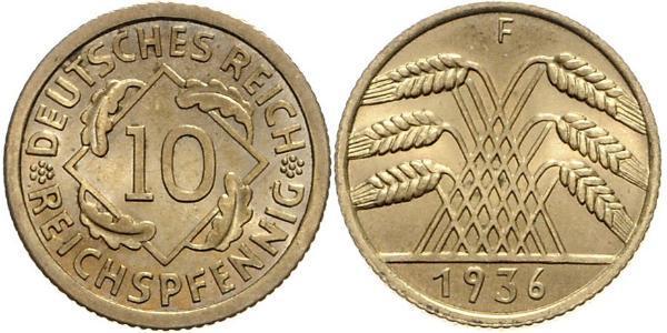 10 Pfennig / 10 Reichpfennig République de Weimar (1918-1933) Laiton