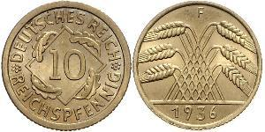 10 Pfennig / 10 Reichpfennig Weimarer Republik (1918-1933) Messing
