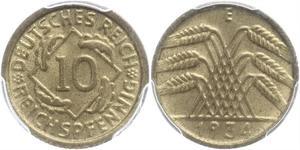 10 Pfennig / 10 Reichpfennig Weimarer Republik (1918-1933) Messing