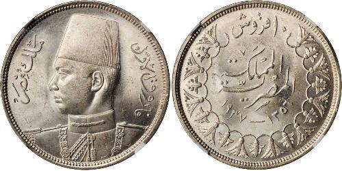 10 Piastre 埃及王國 (1922 - 1953) 銀 Farouk I of Egypt (1920 - 1965)