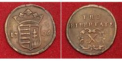 10 Poltura Hongrie Cuivre François II Rákóczi(1676 – 1735)