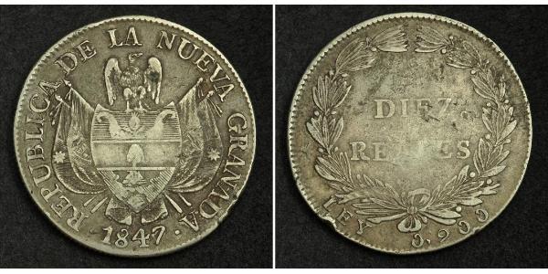 10 Real Republic of New Granada (1831–1858) Silver
