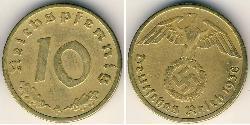 10 Reichpfennig 納粹德國 (1933 - 1945) 黃銅