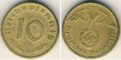 10 Reichpfennig Nazi Germany (1933-1945) Brass