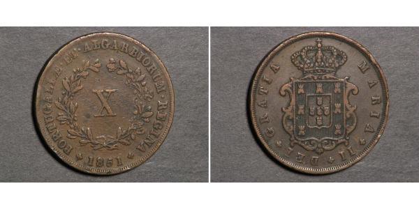 10 Reis 葡萄牙王國 (1139 - 1910) 銅 Maria II of Portugal (1819-1853)