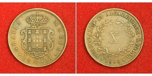 10 Reis Regno del Portogallo (1139-1910) Rame Maria II del Portogallo (1819-1853)