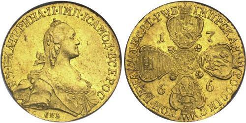10 Rublo Imperio ruso (1720-1917) Oro Catalina II (1729-1796)
