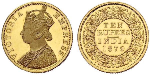10 Rupee British Raj (1858-1947) Gold Victoria (1819 - 1901)