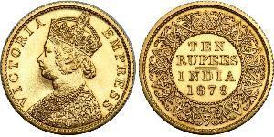 10 Rupee Raj britannique (1858-1947) Or Victoria (1819 - 1901)