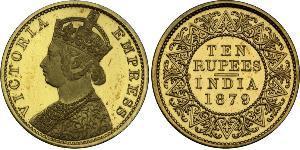 10 Rupee Raj Británico (1858-1947) Oro Victoria (1819 - 1901)