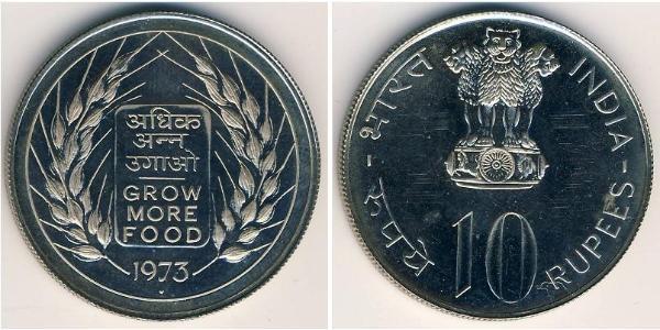 10 Rupee India (1950 - ) Silver