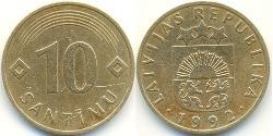10 Santims Lettland (1991 - ) Messing/Nickel