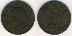 10 Sent Second French Empire (1852-1870) Copper Napoleon III (1808-1873)