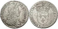 10 Sol Francia medioevale (843-1791) Argento Luigi XIV di Francia (1638-1715)