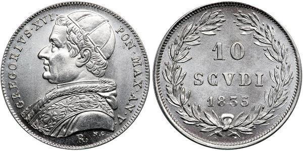 10 Soldo 教皇国 (754 - 1870) 銀 額我略十六世 (1765 - 1846)