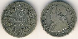 10 Soldo Kirchenstaat (752-1870) Silber Pius IX (1792- 1878)