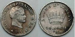 10 Soldo Kingdom of Italy (Napoleonic) (1805–1814) Silver Napoleon (1769 - 1821)