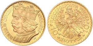 10 Zloty 波兰第二共和国 (1918 - 1939) 金