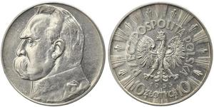 10 Zloty 波兰第二共和国 (1918 - 1939) 銀 约瑟夫·毕苏斯基