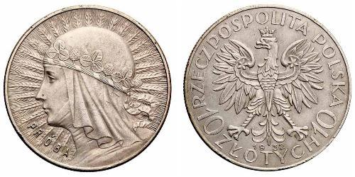 10 Zloty 波兰第二共和国 (1918 - 1939) 銀 雅德维加 (波兰国王)