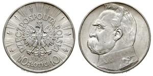 10 Zloty Deuxième République de Pologne (1918 - 1939) Argent Józef Piłsudski