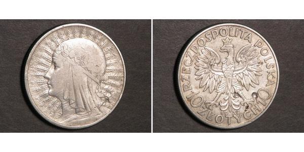 10 Zloty Deuxième République de Pologne (1918 - 1939) Argent Hedwige Ire de Pologne