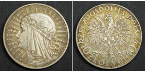 10 Zloty Seconda Repubblica Polacca (1918 - 1939) Argento Edvige di Polonia