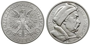 10 Zloty Seconda Repubblica Polacca (1918 - 1939) / Polonia Argento Giovanni III di Polonia (1629-1696)