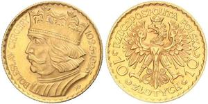 10 Zloty Second Polish Republic (1918 - 1939) Gold