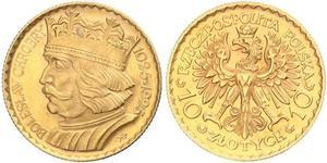 10 Zloty Zweite Polnische Republik (1918 - 1939) Gold