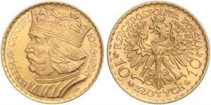 10 Zloty Deuxième République de Pologne (1918 - 1939) Or
