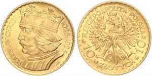 10 Zloty Segunda República Polaca (1918 - 1939) Oro