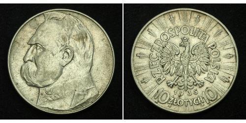 10 Zloty Segunda República Polaca (1918 - 1939) Plata Józef Piłsudski