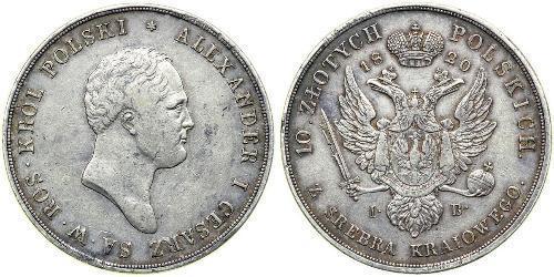 10 Zloty Kongresspolen (1815-1915) Silber Alexander I (1777-1825)