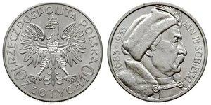 10 Zloty Zweite Polnische Republik (1918 - 1939) / Polen Silber Johann III. Sobieski (1629-1696)