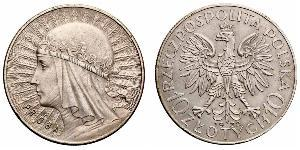 10 Zloty Second Polish Republic (1918 - 1939) Silver Jadwiga of Poland